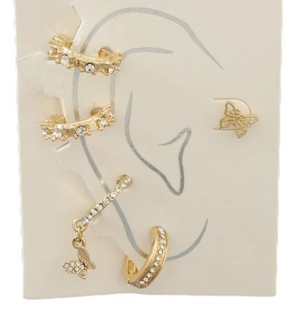Feeling Pretty Earring And Cuff Set - Gold/Clear