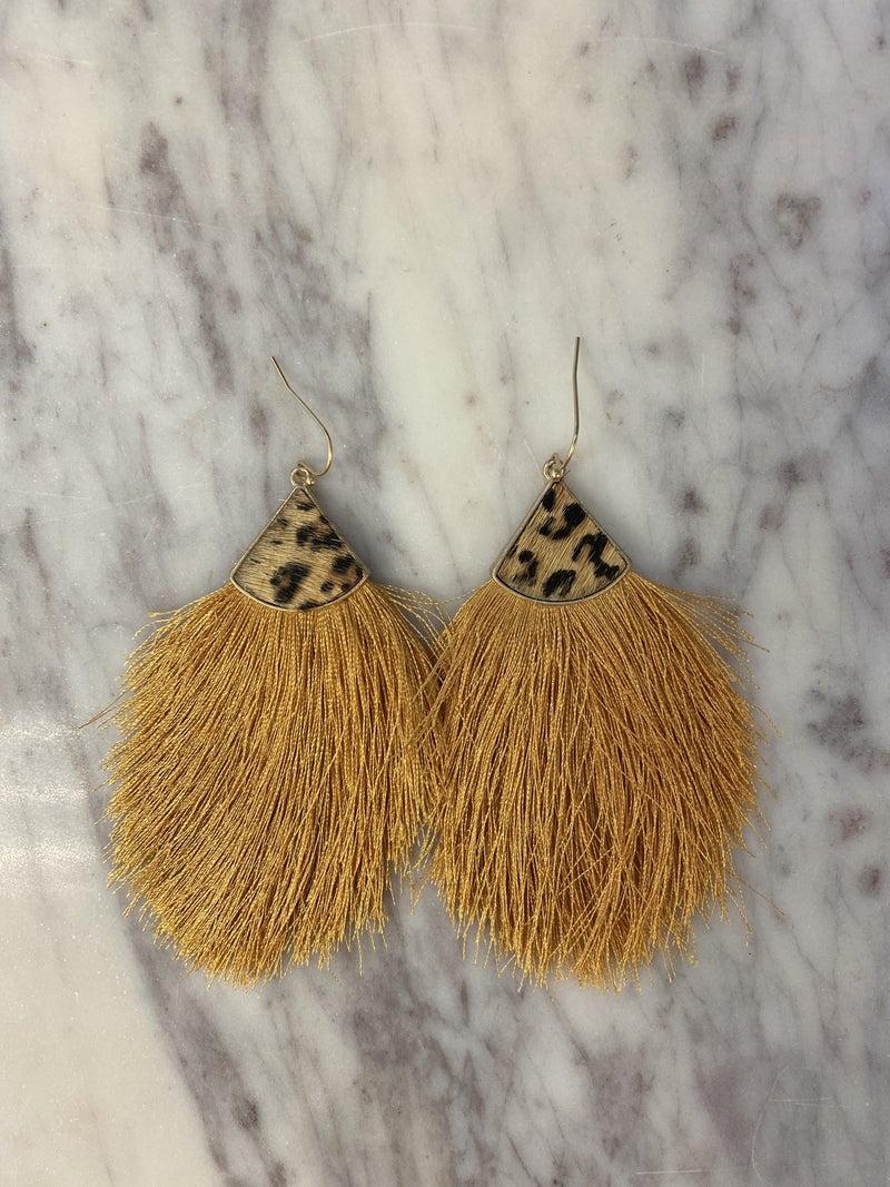 Leopard Cap Tassel Earrings - Mustard