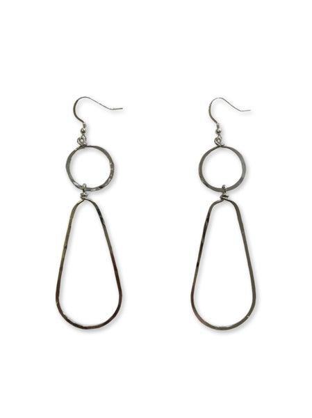 Love, Poppy Circle + Teardrop Earrings - Silver