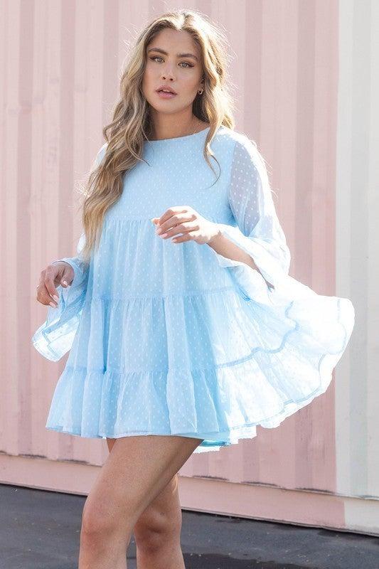 Loose Ends Babydoll Dress-Blue
