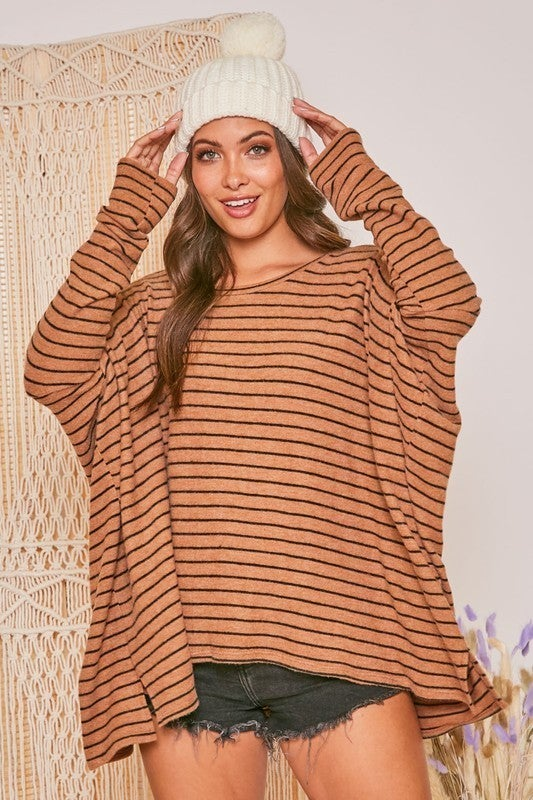 Sophisticated Woman Striped Top - Brown/Black