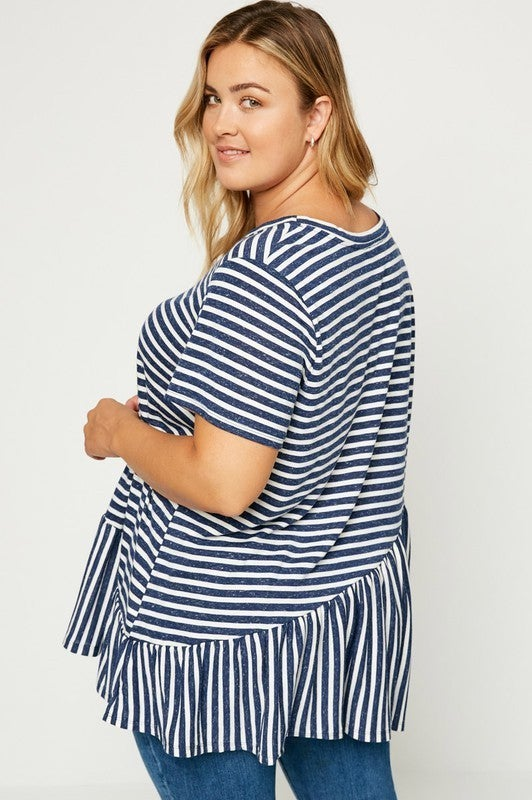 Take Me There Ruffle Striped Top-Navy