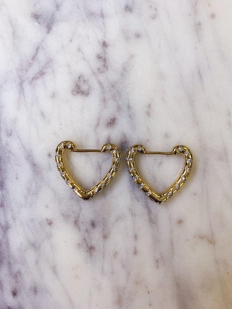 Jennifer Thames - Heart Huggie Earrings