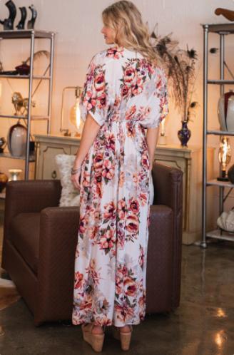 Reg/Plus Smell the Roses Kimono Dress - Off White
