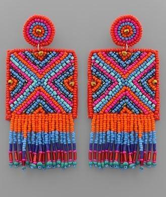 It's A Fiesta Earrings - Orange Multi