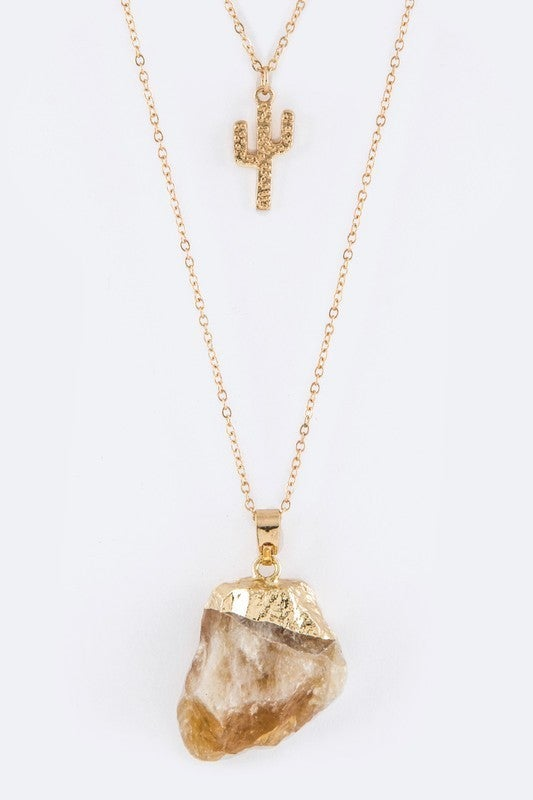 So Precious Cactus And Quarts Necklace And Earrings Set - Gold