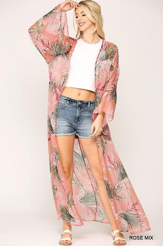 Tropical Sunshine Kimono - Rose