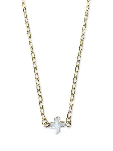 Jennifer Thames White Cross Necklace