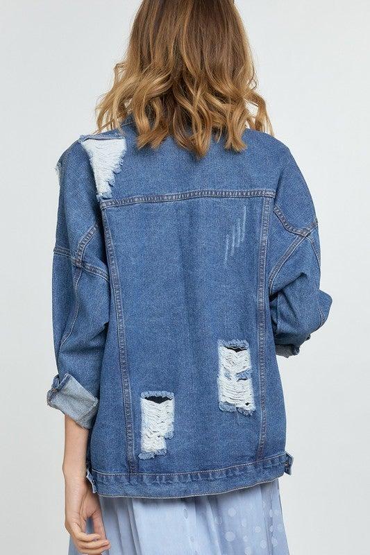 PLUS/REG Bejeweled For Days Denim Jacket - Denim Blue
