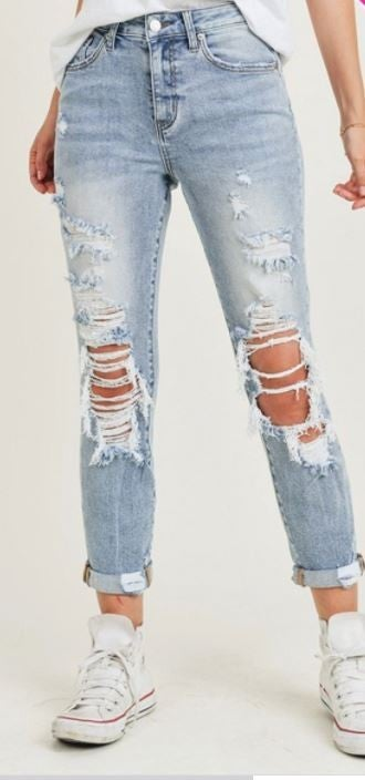REG/PLUS Nothin But The Blues Roll Up Skinny Jeans