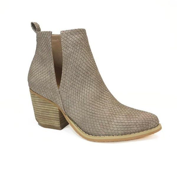 Say My Name Snake Stacked Heal Bootie - Taupe