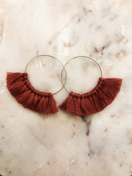 Love, poppy Tassel Hoops - Terracotta