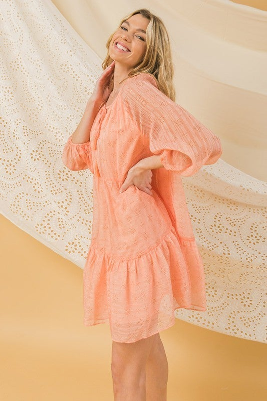 Catching Sunsets Mini Dress - Coral
