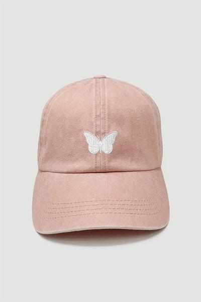Fly High Butterfly Baseball Cap - Pink