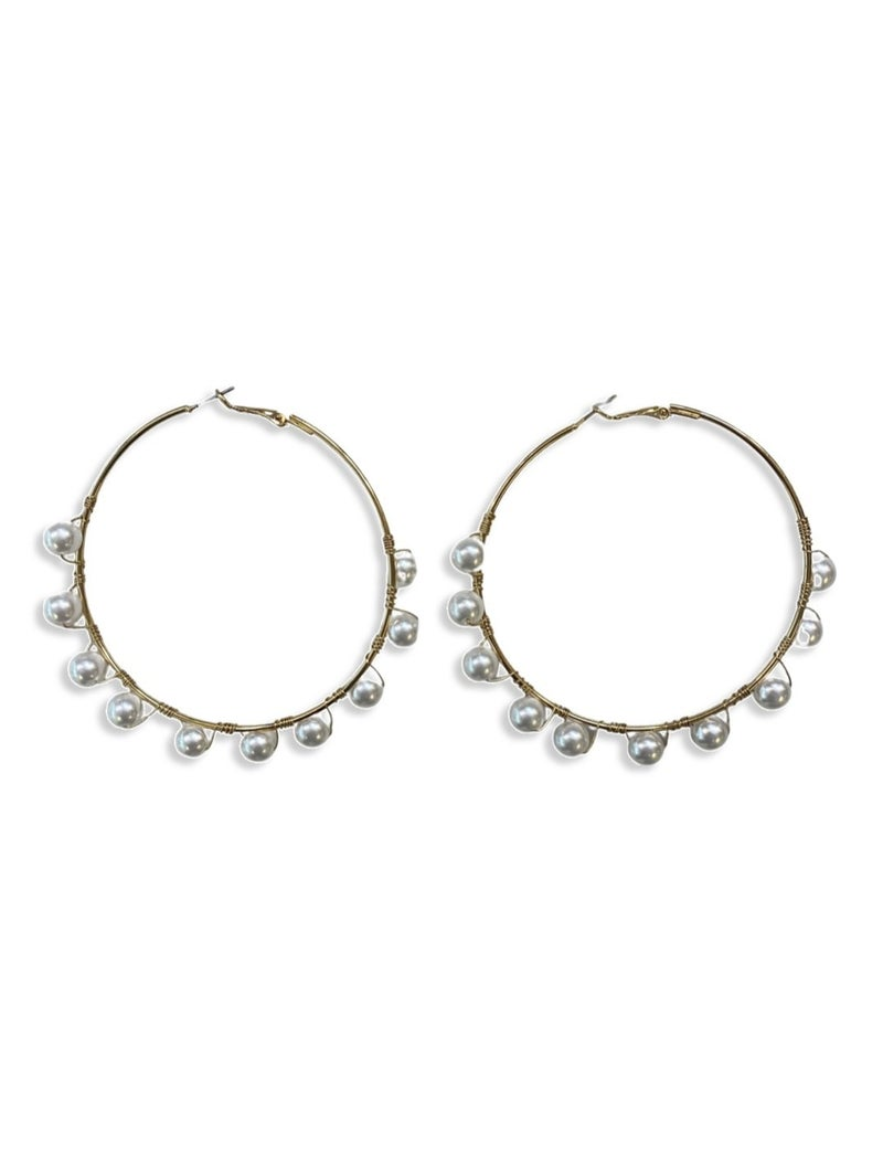 Talking In Circles Earrings - Cream
