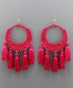 Circle Raffia and Tassel Earrings - Pink