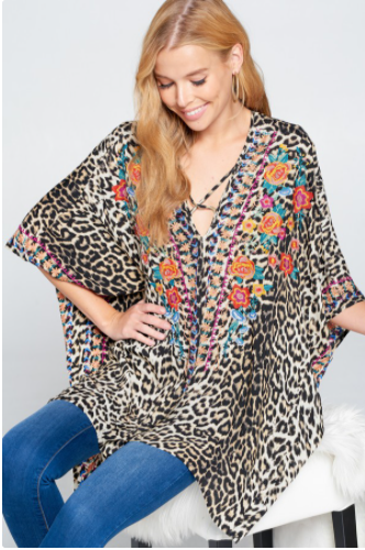Reg/Plus All Mixed Up Poncho Top - Taupe
