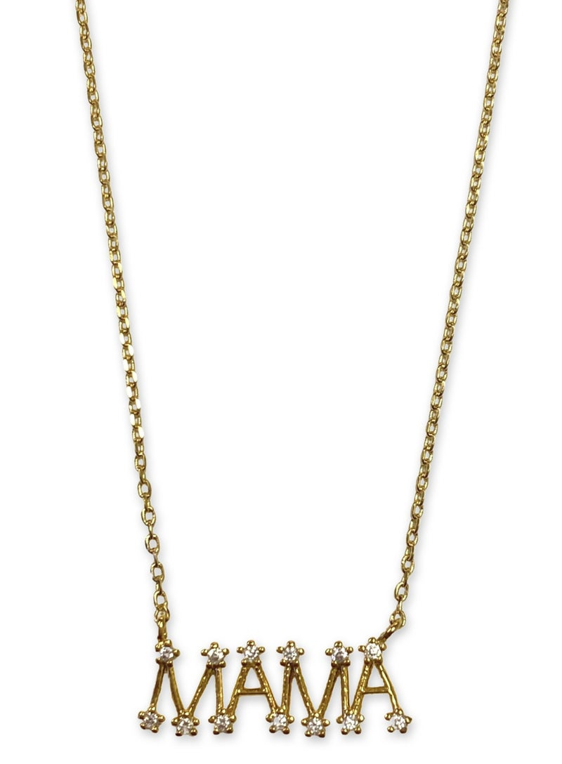 CZ MAMA Necklace - Gold/14K/Clear