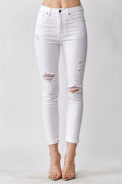 PLUS/REG Pure Heart Distressed Skinny Jeans