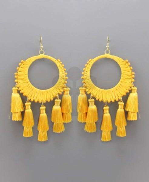 Circle Raffia and Tassel Earrings - Yellow