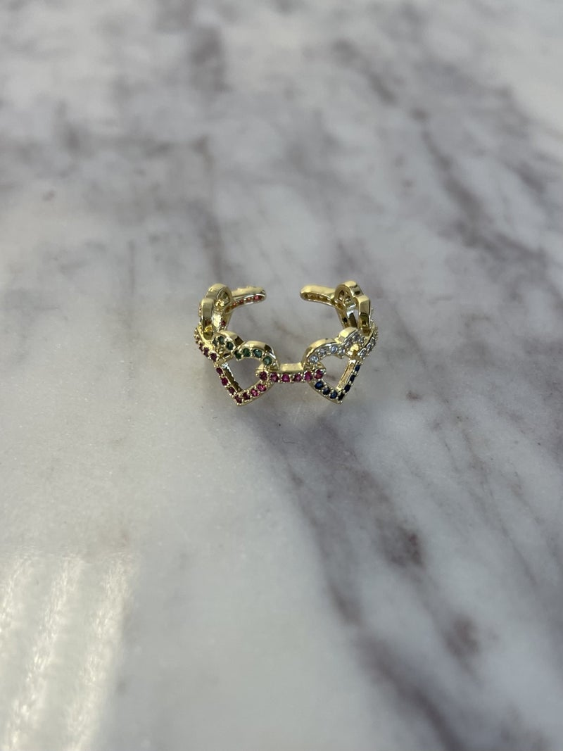 Hearts In A Row Ring