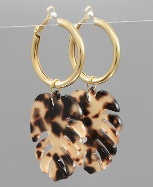 Acrylic Leaf Dangle Hoops-Tortoise