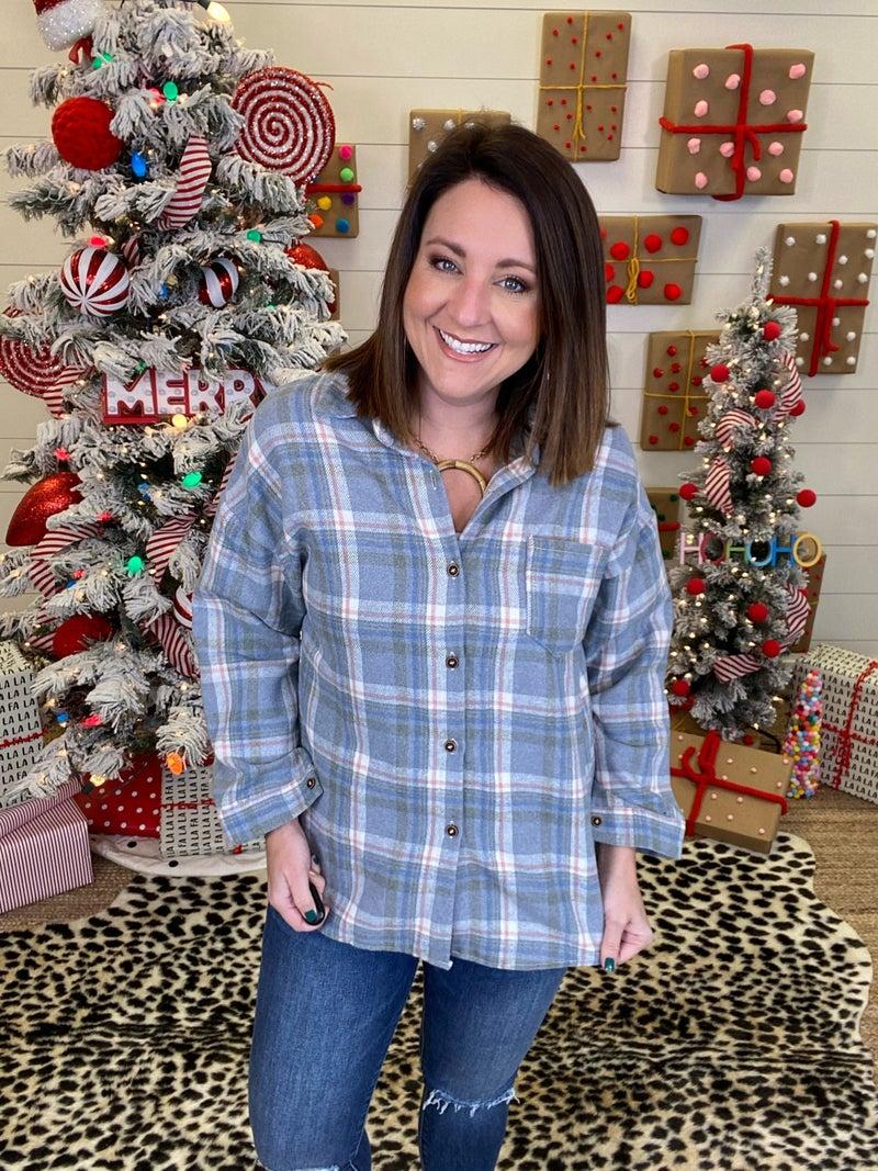 Fun In Flannel Plaid Shirt - Grey/Pink