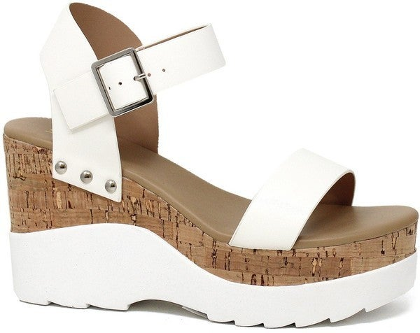 In The Moment Cork Wedge Sandals - White