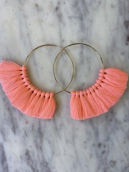 Love, Poppy Tassel Hoops - Neon Pink
