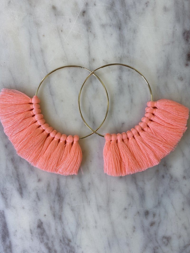 Love, Poppy Tassel Hoops - Neon Pink