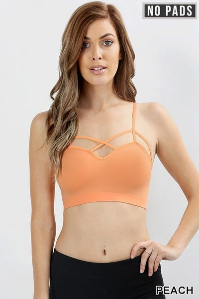 Criss Cross Bralette - Peach