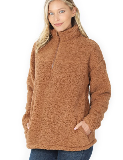 Reg/Plus Warm and Cozy Sherpa Pullover - Deep Camel