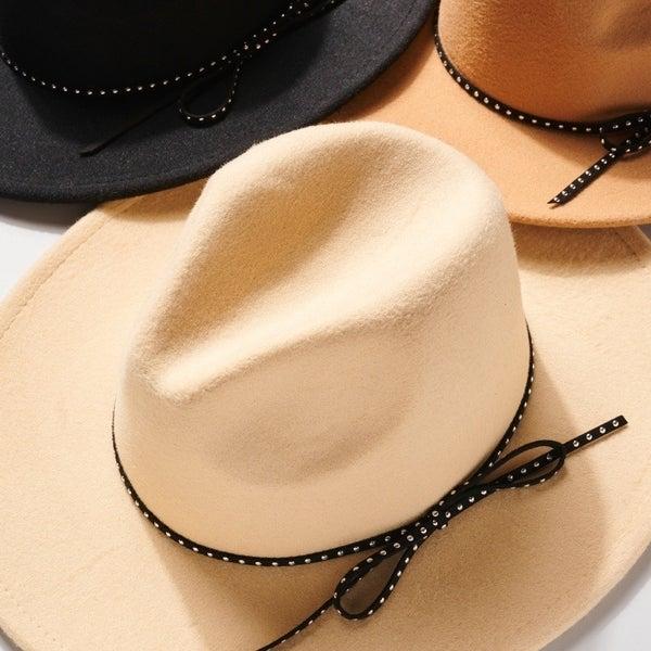Felt Bow String Panama Hat-Multiple Colors