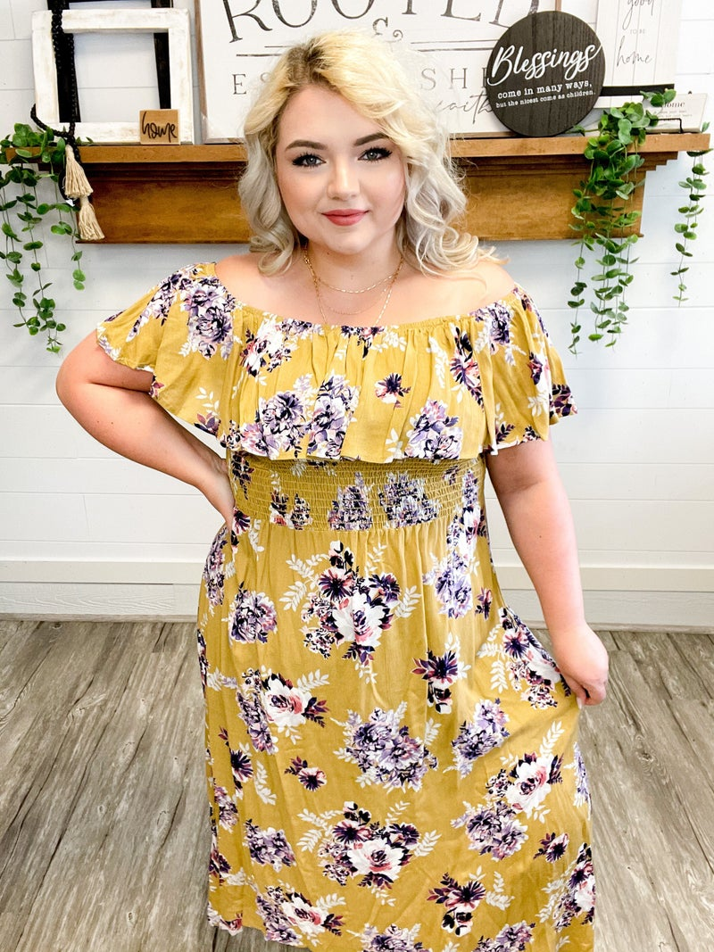 Smocking Ruffle Floral Dress Multiple Colors (Sizes 1XL-3XL) *Final Sale*