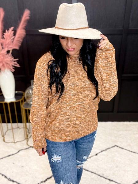 Balloon Sleeve Melange Sweater