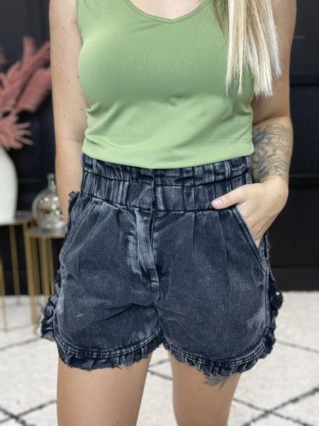 Ruffle Hemmed Denim Shorts  Multiple Colors (Sizes S-3XL)