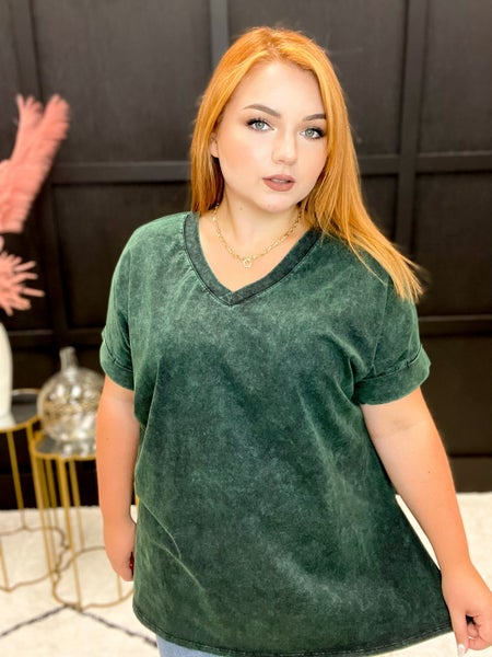 Mineral Wash Rolled Sleeve V-Neck Multiple Colors (Sizes 1XL-3XL)