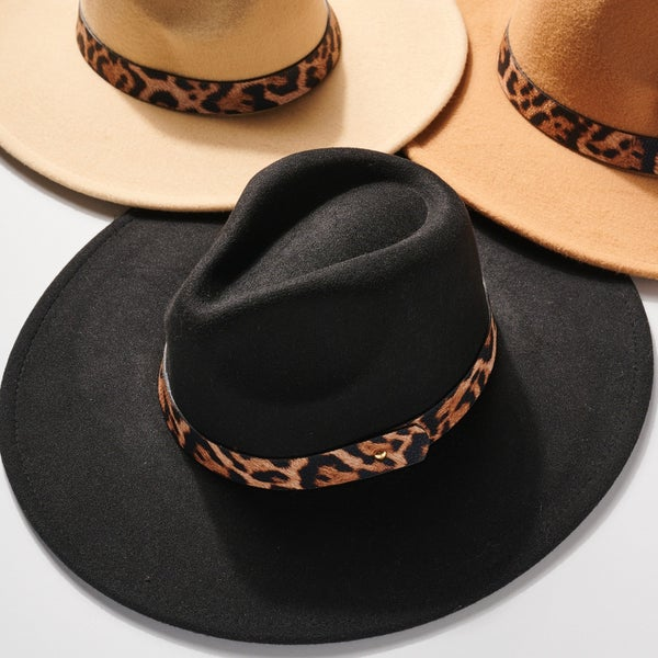Animal Print Strap Panama Hat- Multiple Colors