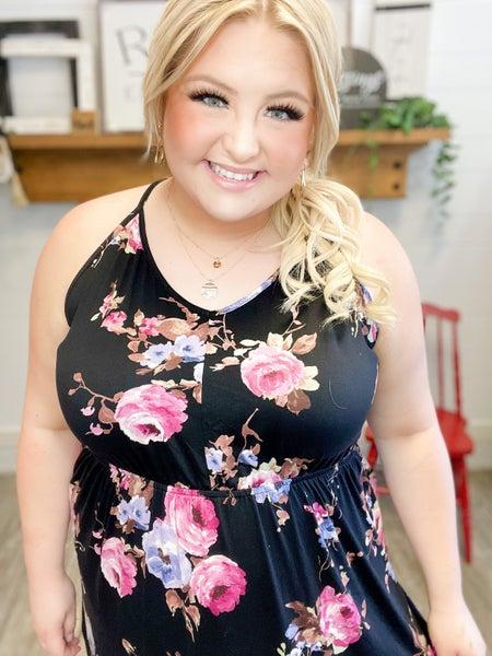 Black Floral Maxi Dress (Sizes S-3XL) *Final Sale*