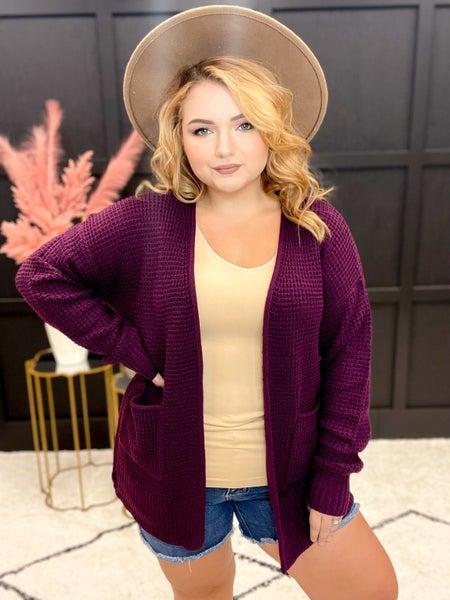 Low Gauge Waffle Cardigan Sweater  Multiple Colors (S-XL)