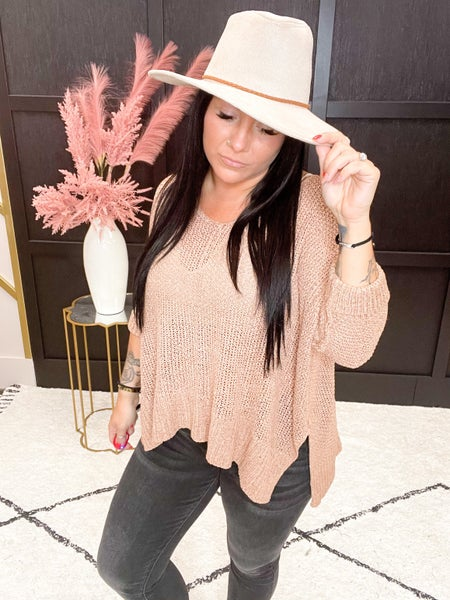 V Neck Solid Loose Fit Sweater- Multiple Colors (One Size)