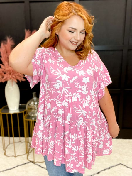 Pretty In Pink Floral Baby Doll Tunic (Sizes 1XL-3XL)