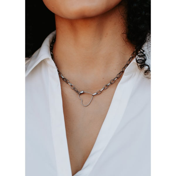 Silver Chain Link Heart Pendant Necklace