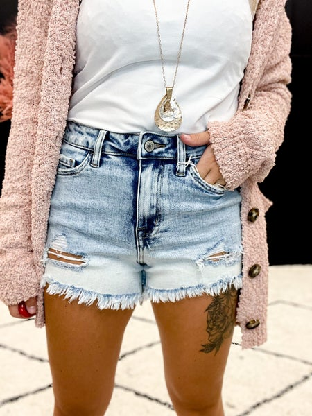 Vervet High Rise Dip Dye Bleach Shorts (XS-L)