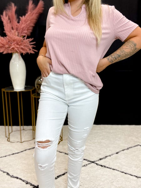 Risen High Waist Distressed Relaxed Skinny (Sizes 1-3XL) *Final Sale*
