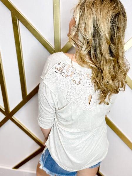 Crochet Lace Detail Banded Neckline Top (Sizes S-3XL)