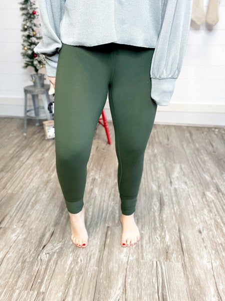 Solid Olive Peach Skin Leggings (Fits Size 2-24)