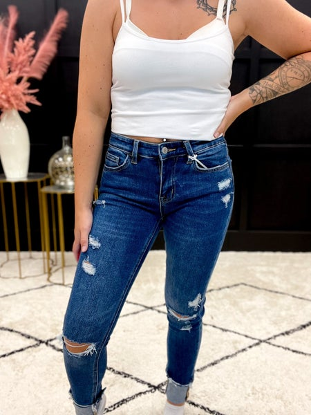 Amber Mid-Rise Cuffed 3D Whisker Ankle Skinny