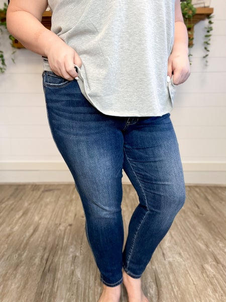 Vervet Mid Rise Waistband Detail Ankle Skinny (Sizes 1-3XL)