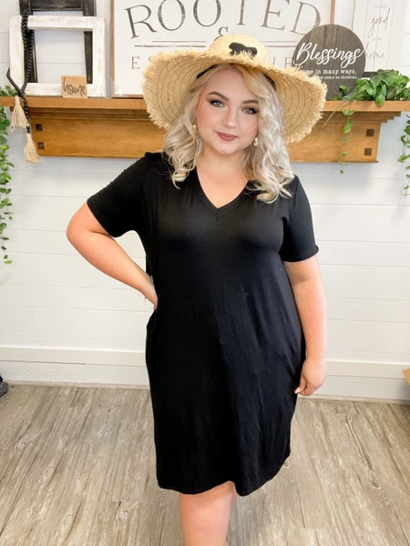 Short Sleeve Solid Knit Dress (Sizes S-3XL)